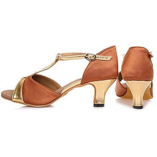 Abierta de Caqui Baile Azbro T Punta Zapatos Latino Mujer Correa Jane Mary HYEqS4w