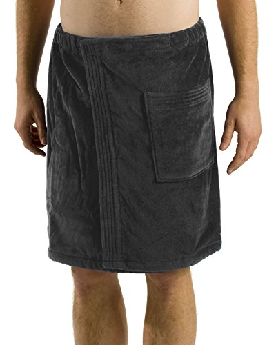 robesale Bamboo Cotton Mens Spa Wrap, Charcoal, XXL ()
