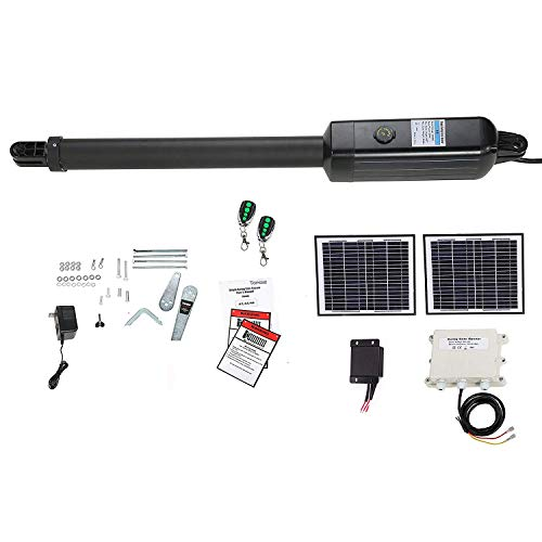 Gate Opener Kit Heavy Duty Solar Single Gate Operator for Single Swing Gates Up to 18 Feet or 850 Pounds, Gate Motor Solar Panel ()