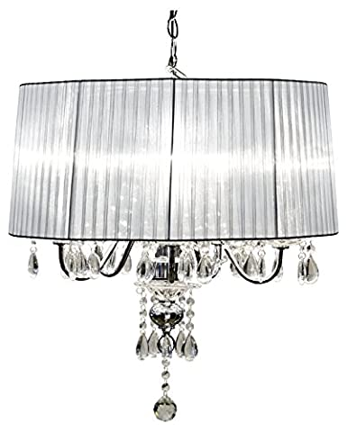 Beaumont 5 light shade chandelier glass silver amazon lighting beaumont 5 light shade chandelier glass silver mozeypictures Images
