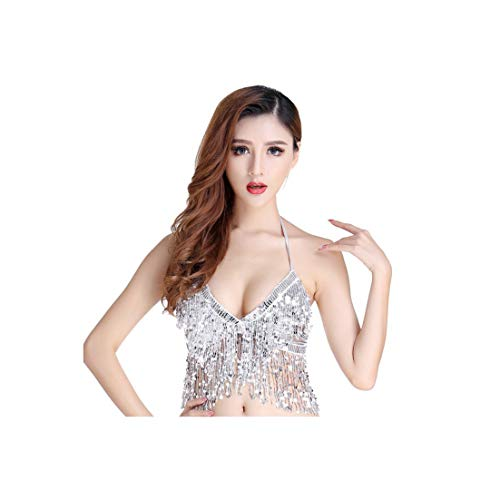 Belly Dance Latin Sequined Fringe Skirt Dress Performance Set Sexy Party Costume 7324,Top Bra -