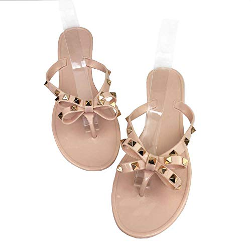 (Mtzyoa Women Stud Bow Flip-Flops Sandals Beach Flat Rivets Rain Jelly Shoes Nude)
