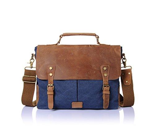 "Stepack marca Vintage Canvas de hombre de piel auténtica bolso de mano maletín para portátil de 14 "", 36 cm * 10 cm * 28 cm (L * W * H), caquI azul"