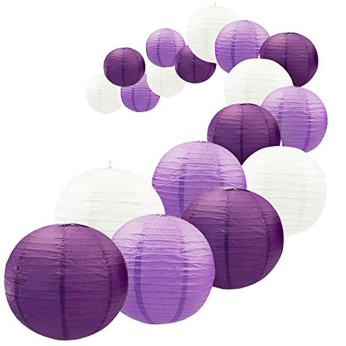 UNIQOOO 18Pcs Royal Purple Paper Lantern Set, 5 Size Mix,Reusable Hanging Decorative Japanese Chinese Paper Lanterns,Easy Assembly,for Birthday Wedding Baby Shower Christmas Party Decor Supplies Kit]()