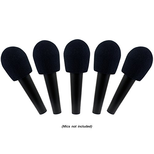 GLS Audio® Mic Windscreens - Black Microphone Windscreen - Mike Wind Screen fits all standard size Ball-Type Mics - Black Wind Screens - 5 PACK
