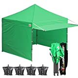 ABCCANOPY 10x10 Easy Pop up Canopy Tent Instant Shelter Commercial Portable Market Canopy Matching Sidewalls, Weight Bags, Roller Bag BOUNS Canopy Awning (Kelly Green)
