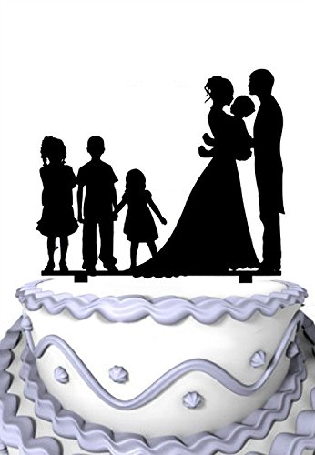 Meijiafei Family Couple Hold the Bady with 3 Children Wedding Cake Topper (3 Cake Topper Letter)