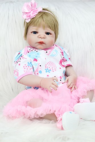 AnneDoll Realistic 22inch Reborn Doll Baby Girl 55cm Full Body Silicone Newborn Babies (Waterproof, Blonde Guled Wig, Blue Eyes) Lovely Baby Doll Birthday Gift Toy with Magnet Mouth