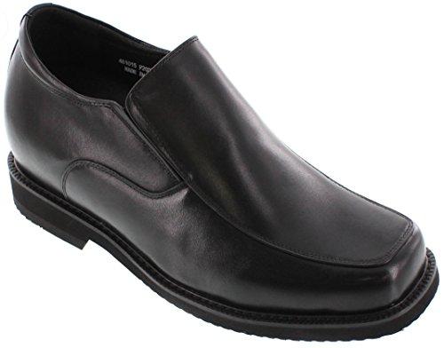 Toto-F2007-9,1cm Grande Taille-Hauteur Augmenter Chaussures ascenseur à enfiler en cuir (Noir)