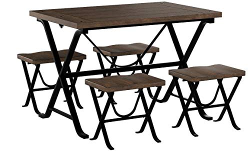 Ashley Furniture Signature Design - Freimore Dining Room Table and Stools - Set of 5 - Medium Brown Wood Top and Black Metal Legs by Signature Design by Ashley (Image #8)