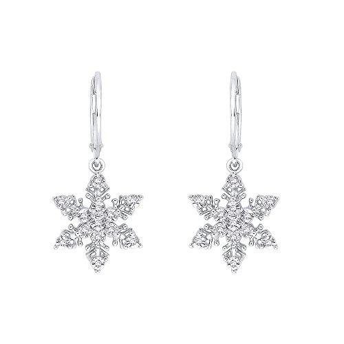 Diamond Snowflake Earring in 14k White Gold (1/10 cttw, J-K, - Diamond Snowflake Earrings Gold
