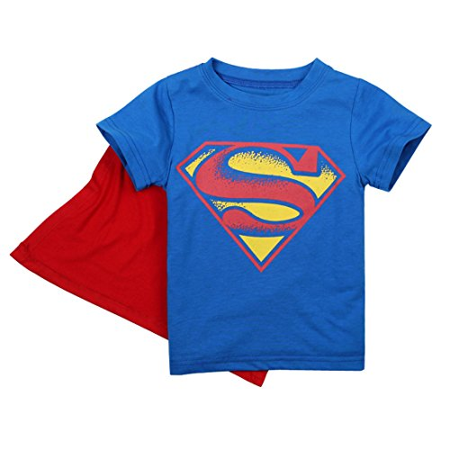 [EITC Little Boy's Short Sleeve Cotton Batman Hero Costume T-Shirt with Cape 4T Hero] (Childs Bat Costume Pattern)