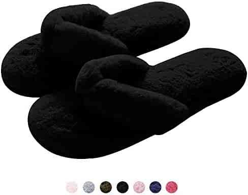 3b80469b727ec1 Plush Thong Slippers for Women Spa Soft Fleece Flip Flops Cozy Non-Slip