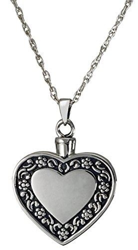 Memorial Gallery 3058-bs Rimmed Heart Sterling Silver Cremation Pet Jewelry by Memorial Gallery
