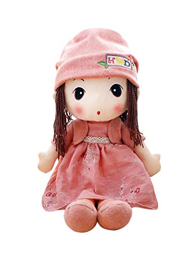 (HWD 16'' Plush Girl Toys Doll , Soft Stuffed Figure Dolls , Clothes Detachable (Pink))