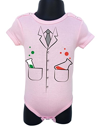 Allure & Grace Baby Bodysuit Onesie Romper Soft Unisex Halloween Funny Comes Gift Wrapped Size 0-6M (Light Pink Scientist)