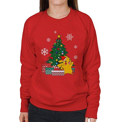 Pikachu-Pokemon-Christmas-Tree-Womens-Sweatshirt