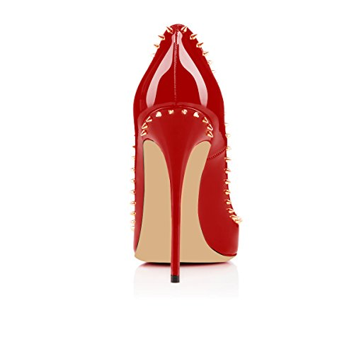 Sexy Heels Tacchi 12cm Pompe Pumps Heels Stilettos Rivet Vestito Gold Elashe Da Dress Tacchi Donne Alti A Toe Oro Women Red High Punta Elashe Indicò Rosso Alti Pointed 12cm Rivetto High Tacchi Spillo Party Partito Sexy Tq8x1E8B