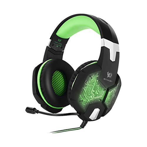 Inspired G1000 Game Big Headphones, Kshion Novelty Trendy 3.5mm Gaming Bass Stereo Headset Headphones Earphones Colorful LED (Green)