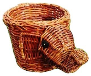 Wicker Elephant Rattan Basket Figure Décor Vintage Style, Design Basket for Egg Easter or Spa (Wicker Basket Duck)