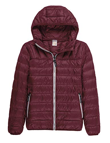(CHERRY CHICK Light Weight Down Puffer Hooded Unisex Jacket (L, Unisex Burgundy))