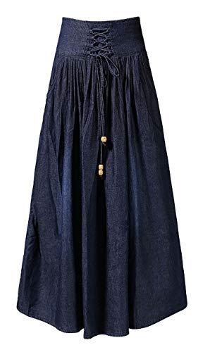 (Vocni Women Vintage A Line Flared Elastic Waist Denim Jeans Long Skirt,Navy_01,US M-Asian Label 3XL)
