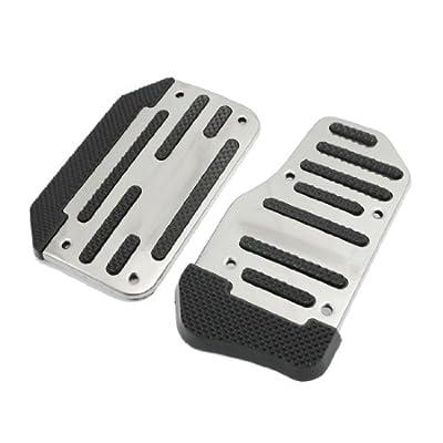 Amico 2 Pcs Silver Tone Black Nonslip Car Automatic Gas Brake Pedal Cover