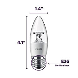 Philips LED Dimmable B11 Clear Candle Light Bulb: