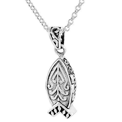 Motif Wax Seal - Sterling Silver Prayer Box Necklace Christian Fish Ichthus Motif, 7/8 inch 24 inch Chain Rol_1