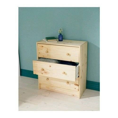 (3 Drawer Dresser Chest Natural Pine Wood Home Bedroom Dorm Furniture Unfinished)