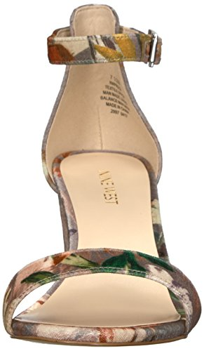 Nine West Women's Pruce Fabric Heeled Sandal Taupe Multi MIF3Cp3cx4