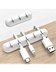 White Cable Clips, Cord Organizer Cable Management, Cable Organizers USB Cable Holder Wire Organizer Cord Clips, 2 Packs Cord Holder for Desk Car Home and Office (5, 3 Slots)