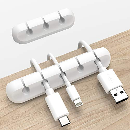 Cable Clips, Cord Organizer Cable Holder, Wire Holder USB Cable Power Cord, 2 Packs Cable Organizer for Car Home and Office (5, 3 Slots)