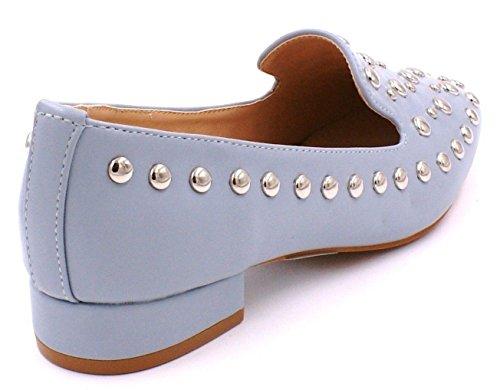 Talon Faux Slip Mocassin Bas Plat Chaussures Pompes Bleu Travestissement Cuir Dames K42 Clouté Shu Folles Ytfx8