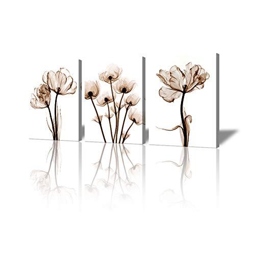 3-Panels Elegent Transperent Flower Painting,Contemporary Canvas Prints Poppy Floral Wall Decoration