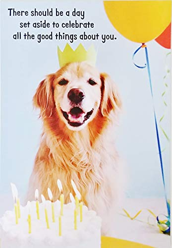 A Day To Celebrate All The Good Things About You - Happy Birthday Greeting Card with Labrador Golden Retriever Dog (Card Retriever Birthday Labrador)