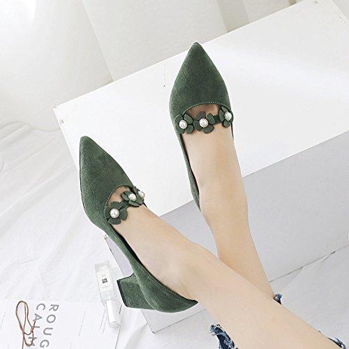 punta con bocca poco scarpe autunno profonde scarpe scarpe solo profonde scarpe raso autunno poco Verde donna a in 37 bold solo Bocca wIAT8qA