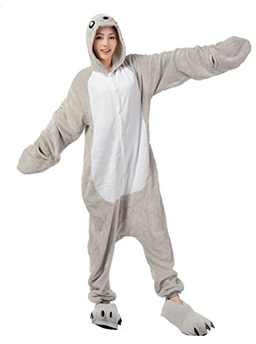 [AooToo Womens Costumes Onesie Halloween Unisex Role Play Flannel Animal Pajamas(HSHI, M)] (Last Minute Halloween Costumes For Plus Size Women)
