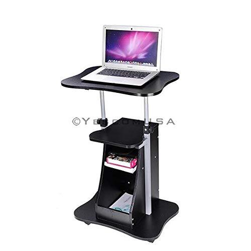 Height-Adjustable Rolling Laptop Cart w/Storage (Black)