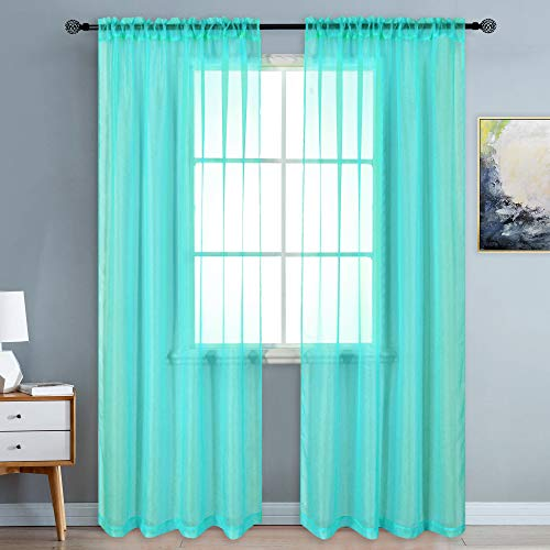 KEQIAOSUOCAI Sheer Turquoise Curtains 84 inch Length Rod Pocket Semi Voile Panels Sheers Drapes for Bedroom Bed Canopy Curtains 52 Inch x 84 Inch Set of 2 (Curtains Drapes Turquoise)