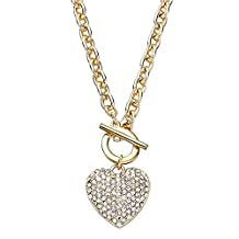 Reversible Pave Crystal Toggle Heart Pendant Necklace Gold Tone