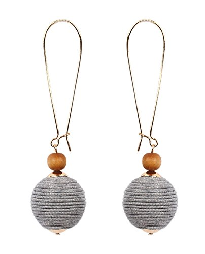Women's Thread Lantern Ball Dangle Wood Bead Fashion Pierced Earrings, Gray/Gold-Tone (Ball Wire Kidney Earrings)