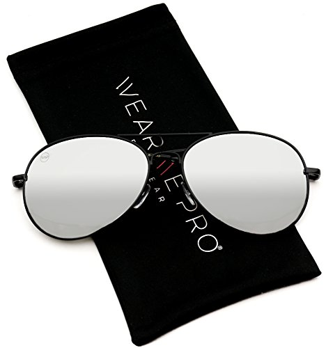 Aviator Full Silver Mirror Metal Frame Sunglasses (Black Frame/Mirror Silver Lens, 57) ()