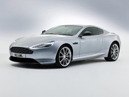 Db9 Martin Aston Coupe (Aston Martin DB9 Coupé (2012) Car Art Poster Print on 10 mil Archival Satin Paper Silver Front Side Studio View 20
