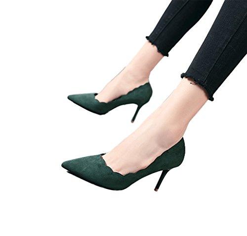 Autumn Ladies Shoes 36 tacones altos Fashion Verde Dream Grey Tamaño Shoes señaló Sexy Color Suede HwqnCdz