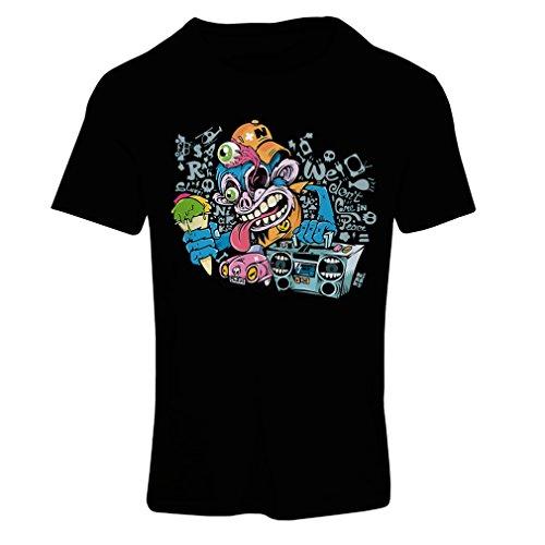 lepni.me T Shirts For Women The Funky Monkey DJ - 80s 1980s Retro Vintage Music Deck Cassette Player (X-Large Black Multi - Fashion Wiki 1980s