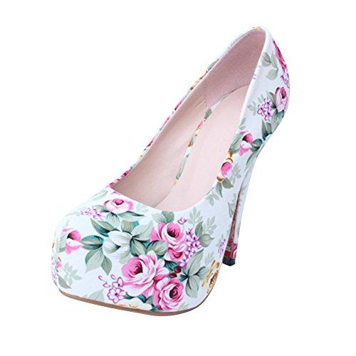 fereshte Women's Fashion Printing Chinoiserie Rounded Toe Platform Stiletto Pump White JeaEu3g
