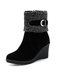 DoraTasia Women 's Fashion Wedges Heel Snow Ankle Boots Faux Lambswool Warm Fur Winter Boots Girls