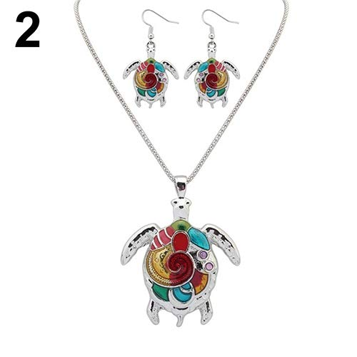 Jewelry Set Opeof Multi-Color Tortoise Pendant Necklace Turtle Drop Hook Earrings Jewelry Set - Silver ()