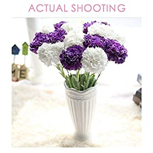 Allywit 10pcs Artificial Flowers Carnation Bouquets Fake Silk Flowers for Home Wedding Party Mother's Day Decorative Gift 66